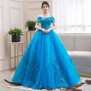 Elegant Jade Green Dancing Prom Dresses 2020 Ball Gown Off-The-Shoulder Short Sleeve Appliques Lace Beading Floor-Length / Long Ruffle Backless Formal Dresses