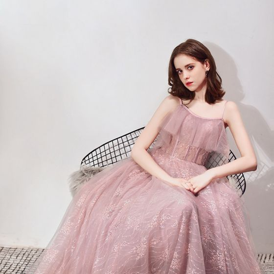Chic / Beautiful Blushing Pink Prom Dresses 2019 A-Line / Princess Spaghetti Straps Sleeveless Beading Floor-Length / Long Ruffle Backless Formal Dresses
