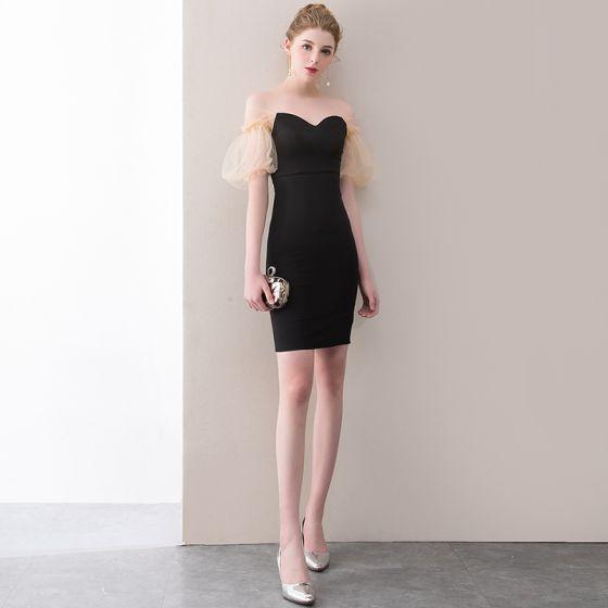 Seksowne Czarne Strona Sukienka 2018 Kochanie Bez Pleców Kótkie Rękawy Krótkie Sukienki Wizytowe