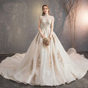 Vintage / Retro Chinese style Champagne Wedding Dresses 2019 A-Line / Princess High Neck Lace Flower Cap Sleeves Backless Royal Train
