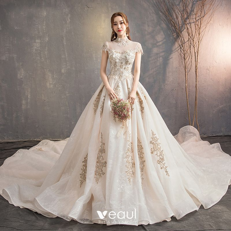 Vintage / Retro Chinese Style Champagne Wedding Dresses