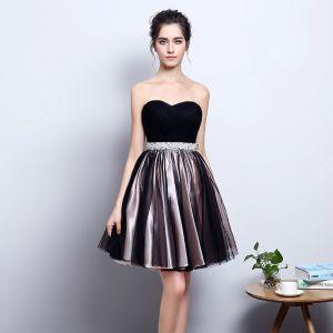 Chic / Beautiful Black Party Dresses 2018 A-Line / Princess Sweetheart Sleeveless Rhinestone Sash Short Ruffle Backless Formal Dresses
