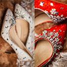 Chaussures De Mariage À La Main 2017 Dentelle Et Perles Strass 8cm Chaussures De Mariée