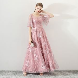 Chic / Beautiful Blushing Pink See-through Prom Dresses 2019 A-Line / Princess Scoop Neck Bell sleeves Appliques Lace Beading Rhinestone Floor-Length / Long Ruffle Backless Formal Dresses