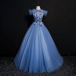 Vintage Meeresblau Ballkleider 2018 Ballkleid Mit Spitze Blumen Applikationen Schleife Rundhalsausschnitt Rückenfreies Kurze Ärmel Lange Festliche Kleider