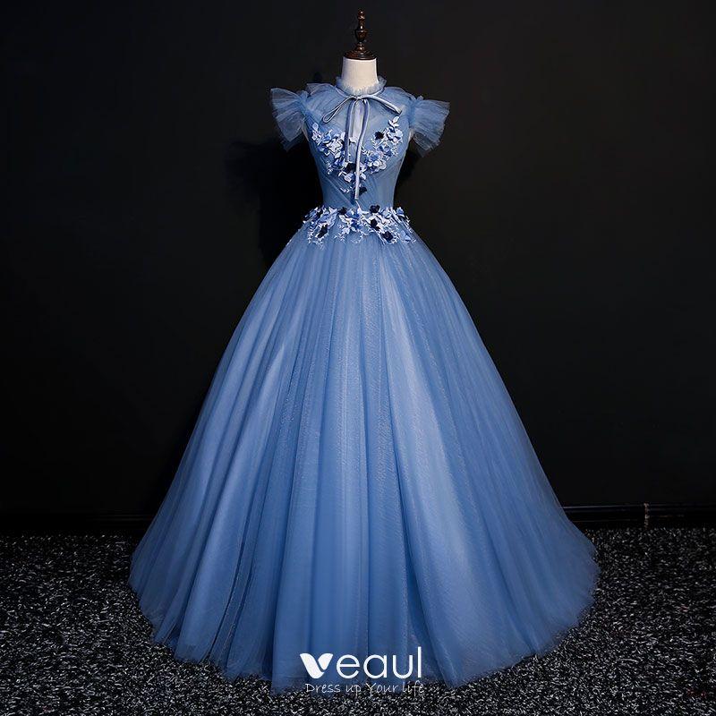 Vintage Meeresblau Ballkleider 2018 Ballkleid Mit Spitze ...