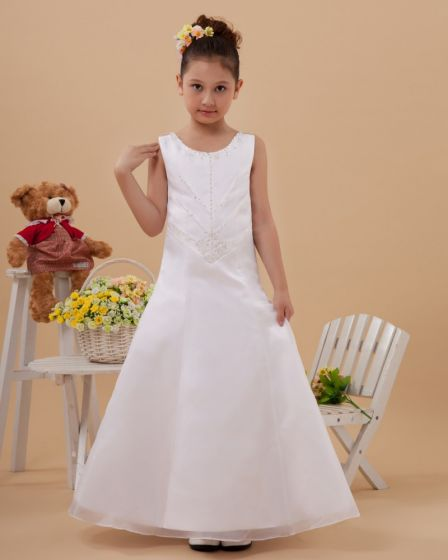 Organza Satin Round Neck Sleeveless Floor Length Flower Girl Dresses