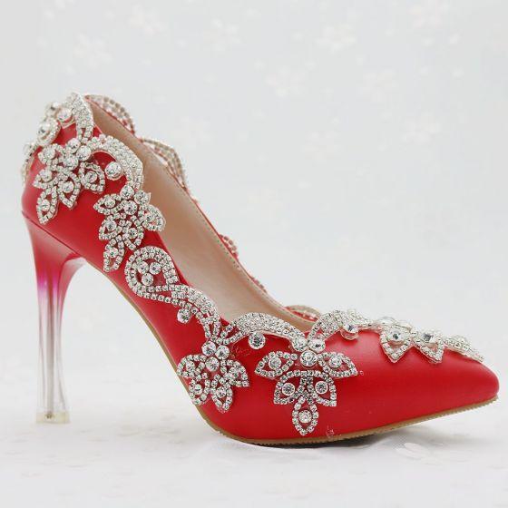 Estilo Chino Rojo Zapatos de novia 2018 Rhinestone 9 cm Crystal Stilettos    Tacones De Aguja Punta ... 5e7fb2f8800a