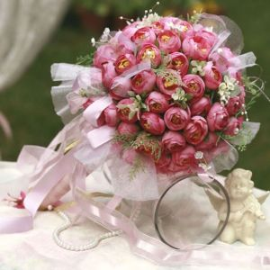 Bridal Bouquets Holding Small Tea Rose Wedding Flowers