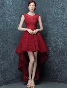 Elegant Cocktail Dress 2016 Scoop Neck Asymmetrical Burgundy Lace Cocktail Party Dress