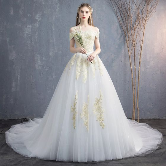 Elegant White Wedding Dresses 2019 A-Line / Princess Off-The-Shoulder Lace Flower Sequins Short Sleeve Backless Cathedral Train