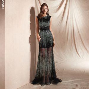 High-end Black Summer Evening Dresses  2020 Trumpet / Mermaid Scoop Neck Sleeveless Rhinestone Floor-Length / Long Ruffle Formal Dresses