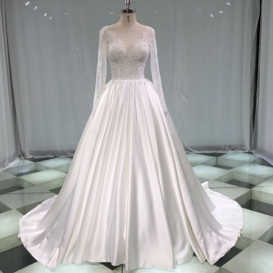 Illusion Ivory Satin Wedding Dresses 2019 A-Line / Princess Deep V-Neck Long Sleeve Backless Pearl Beading Chapel Train Ruffle