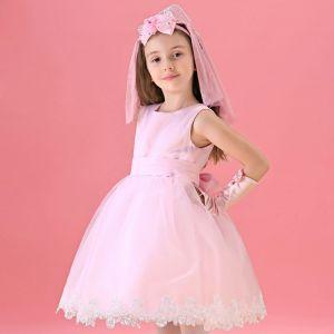 Roze Bloem Meisje Jurk Prinses Jurk Met Lange Mouwen