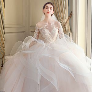 Modern / Fashion Cascading Ruffles Wedding Dresses 2018 Ball Gown Lace Appliques Embroidered Scoop Neck Backless 3/4 Sleeve Royal Train Wedding