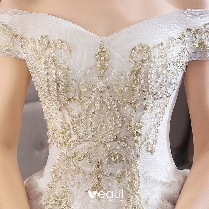 Elegant Ivory Wedding Dresses 2019 Ball Gown Off-The-Shoulder Lace Flower Star Beading Pearl Sequins Short Sleeve Backless Royal Train
