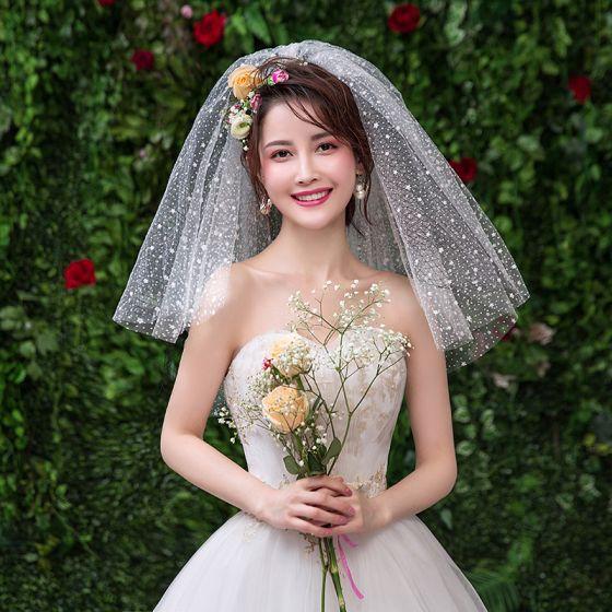 Piękne Białe Ślub Koronkowe Tiulowe Aplikacje Krótkie Welony Ślubne 2019