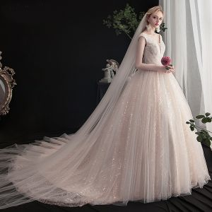 Charming Champagne Wedding Dresses 2019 A-Line / Princess V-Neck Beading Sequins Lace Flower Sleeveless Backless Chapel Train