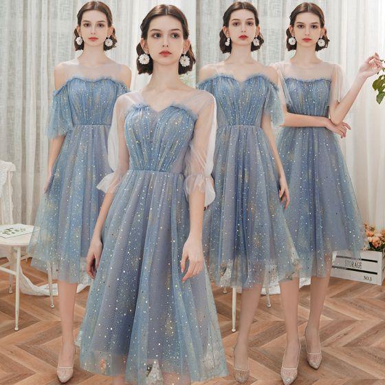 Affordable Ocean Blue Bridesmaid Dresses 2020 A-Line / Princess Backless Star Sequins Tea-length Ruffle
