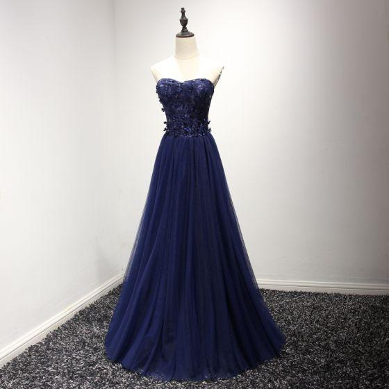 Chic / Belle Robe De Ceremonie 2017 Robe De Soirée Bleu D'encre Princesse Longue Amoureux Sans Manches Dos Nu En Dentelle Appliques Perlage