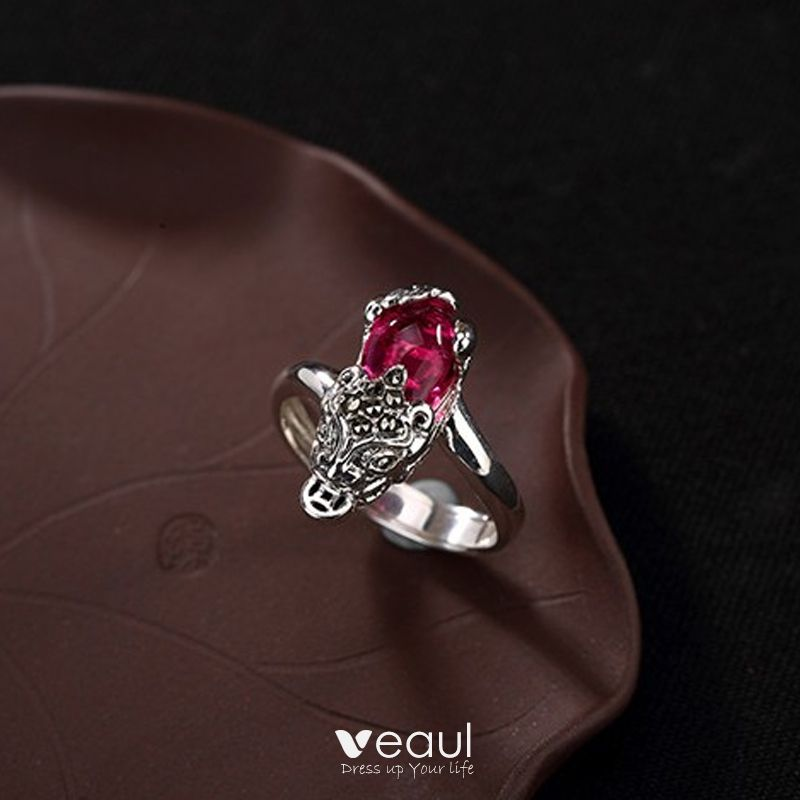 Luxury / Gorgeous Fuchsia Lucky Faith Ring Sterling Silver Evening Party Rings 2019 Accessories