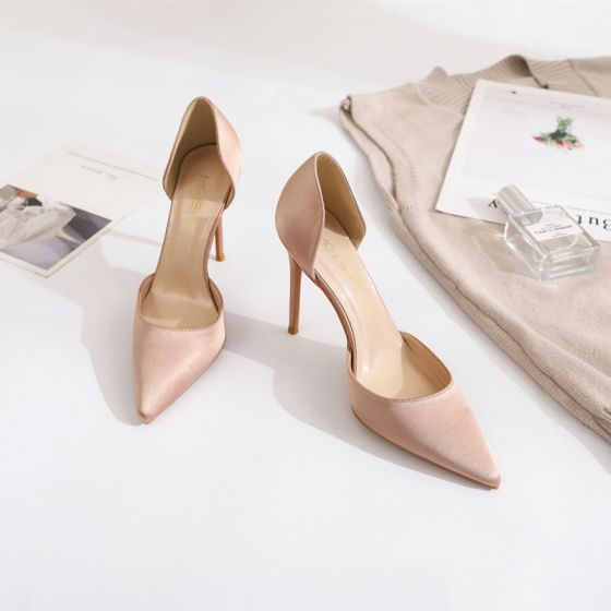 Modest / Simple Nude Street Wear Womens Shoes 2020 Satin 10 cm Stiletto Heels Pointed Toe Heels