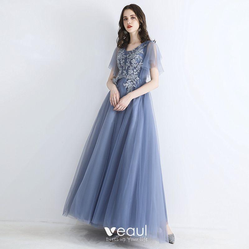 Chic / Beautiful Sky Blue Evening Dresses  2019 A-Line / Princess Square Neckline Short Sleeve Appliques Lace Beading Floor-Length / Long Ruffle Formal Dresses