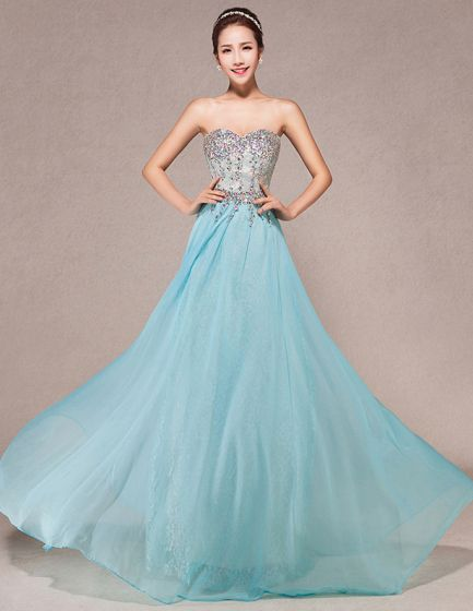 2015 Sweetheart Handmade Rhinestone Floor-length Long Evening Dresses