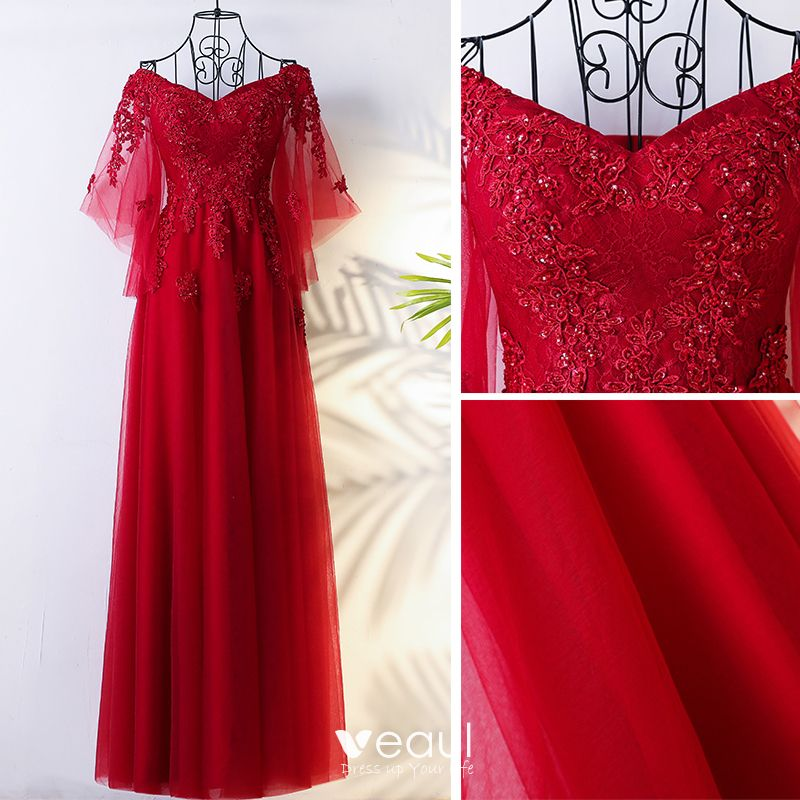Chic / Beautiful Chinese style Red Evening Dresses  2017 Appliques Flower Lace Sequins Tulle Evening Party