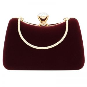Modern / Fashion Burgundy Clutch Bags Beading Rhinestone Velour Cocktail Party Evening Party Prom Accessories 2019