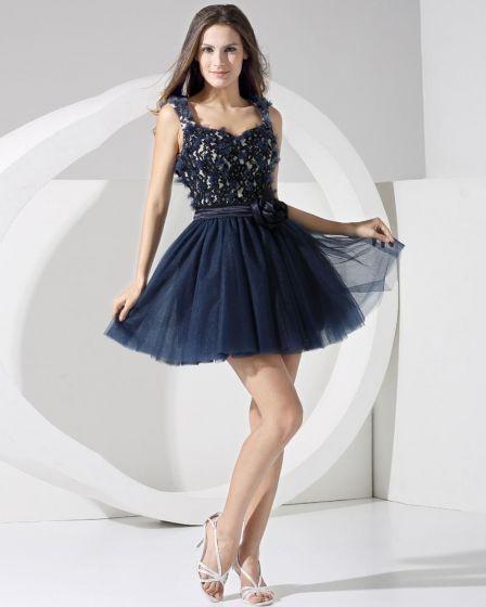 Stylish Silk Like Satin Lace Gauze Spaghetti Straps Sequins Sleeveless Backless Pleated Short Cocktail Dress