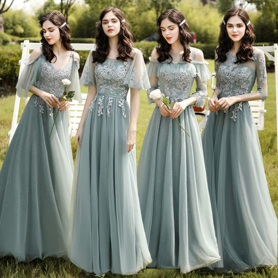 Modest / Simple Mint Green Lace Flower Bridesmaid Dresses 2021 A-Line / Princess Scoop Neck 1/2 Sleeves Backless Floor-Length / Long Wedding Party Dresses