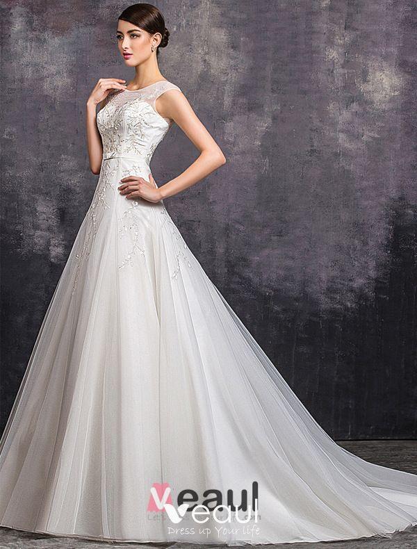 Elegant A-line Square Neckline Beading Sequins Organza Wedding Dress
