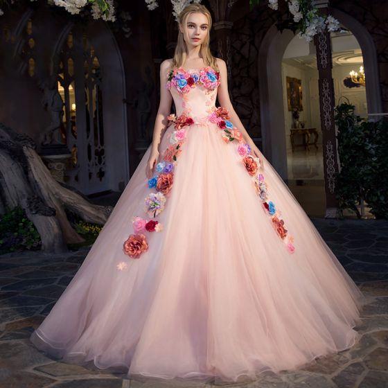Blomsterfe Perle Pink Gallakjoler 2019 Prinsesse Stropløs Ærmeløs Applikationsbroderi Blomsten Lange Flæse Halterneck Kjoler