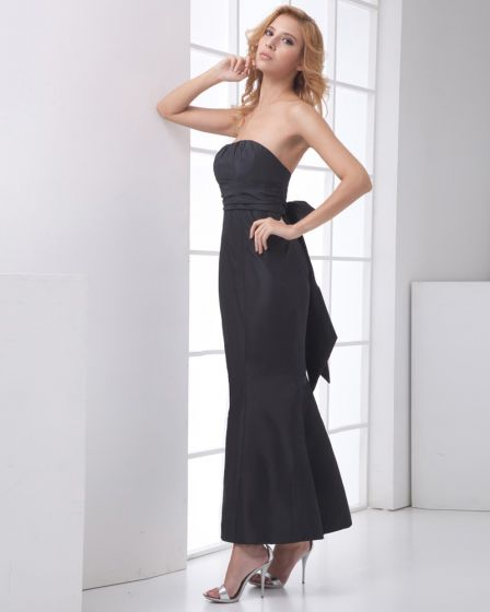 Fashion Taffeta Back Bowknot Pleated Strapless Sleeveless Ankle Length Bridesmaid Dress