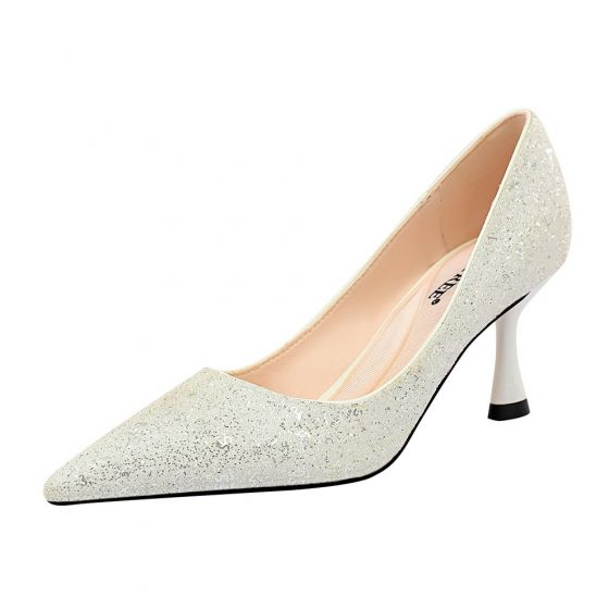 Charming Black Sequins Wedding Shoes 2020 7 cm Stiletto Heels Pointed Toe Wedding Pumps