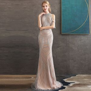 High-end Champagne Evening Dresses  2020 Trumpet / Mermaid High Neck Short Sleeve Beading Tassel Sweep Train Ruffle Backless Formal Dresses