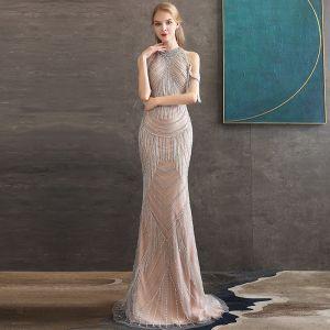 High-end Champagne Evening Dresses  2020 Trumpet / Mermaid High Neck Short Sleeve Beading Tassel Sweep Train Ruffle Backless Formal Dresses