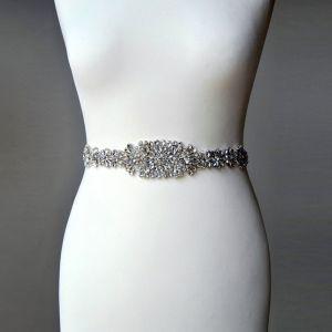 Elegante Fabuloso Marfil Gala Fajas 2020 Satén Metal Rebordear Crystal Rhinestone Boda Boda Noche Accesorios