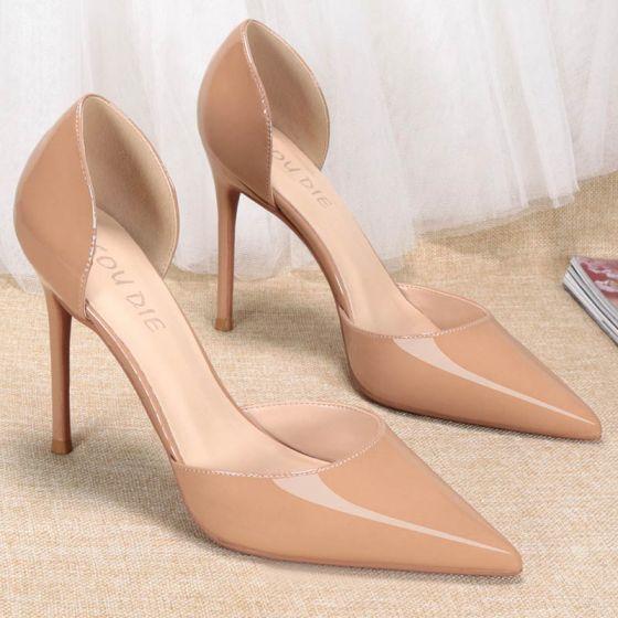 Minimalistisch Nude Büro OL Damenschuhe 2020 10 cm Stilettos Spitzschuh High Heels