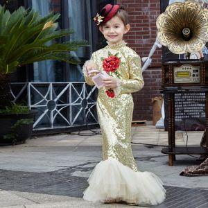 Chic / Belle Salle Robe Pour Mariage 2017 Robe Ceremonie Fille Dorés Paillettes Trompette / Sirène Longue Col Haut Manches Longues Fleur Appliques Faux Diamant