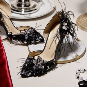 Charming Black Evening Party Womens Shoes 2020 Feather Beading Rhinestone Sequins Pearl 9 cm Stiletto Heels Pointed Toe High Heels