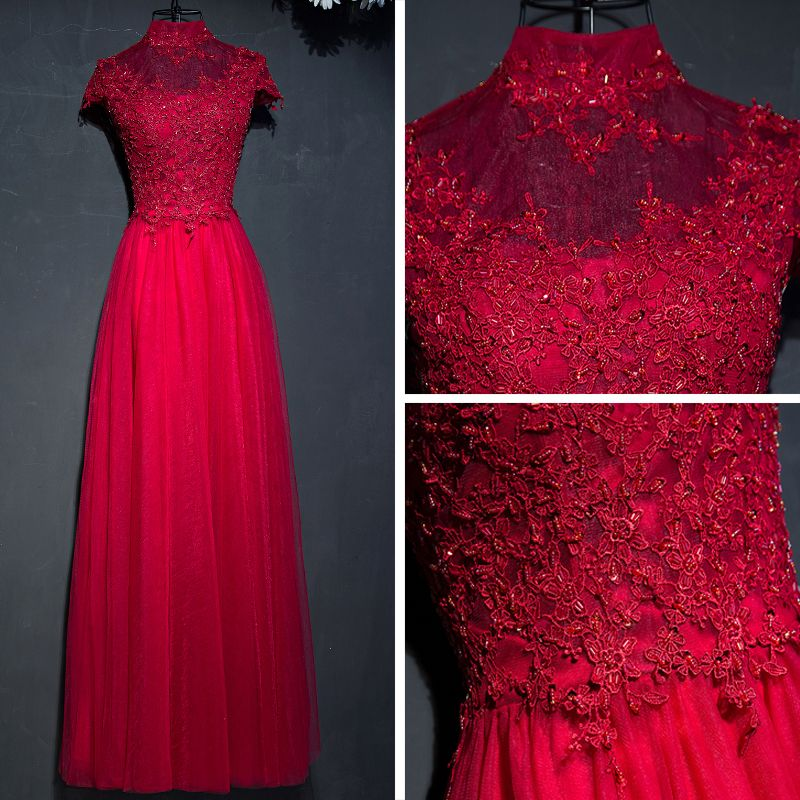Chic / Beautiful Red Formal Dresses 2017 Lace Flower Sequins High Neck Short Sleeve Floor-Length / Long Empire Evening Dresses