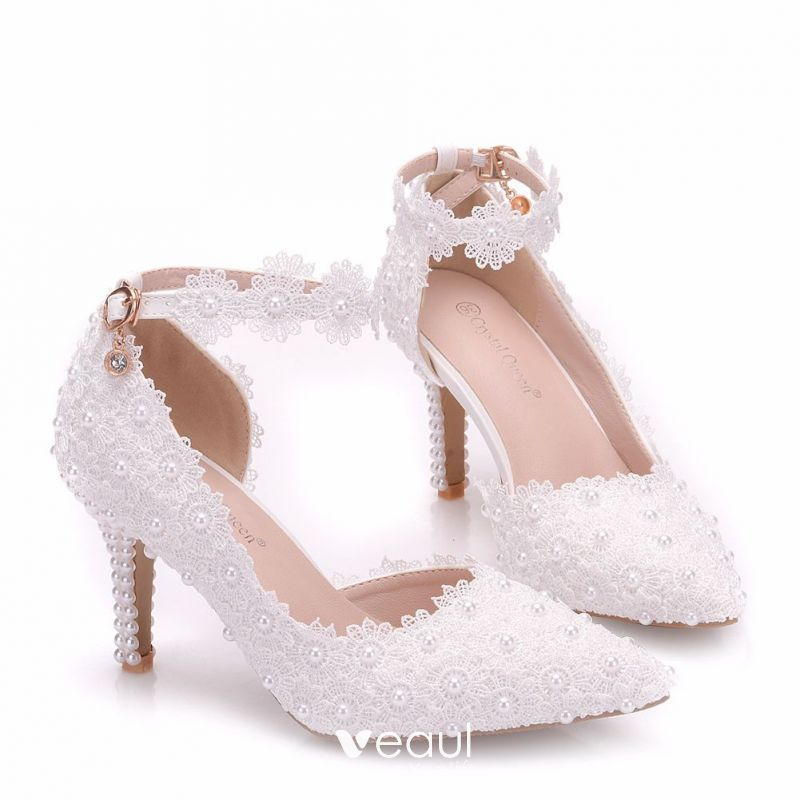 8be340337981 Chic Beautiful White Wedding Shoes 2018 Lace Flower Pearl 8 Cm