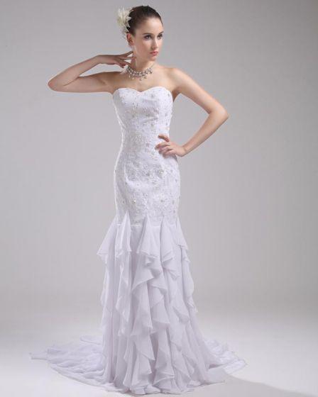 Fashion Chiffon Imitation Silk Ruffle Beading Sweetheart Floor Length Mermaid Wedding Dress