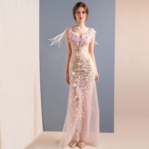 Sexy Blozen Roze Lange Avondjurken 2018 Trompet / Zeemeermin Tule V-Hals Appliques Ruglooze Kralen Avond Gelegenheid Jurken