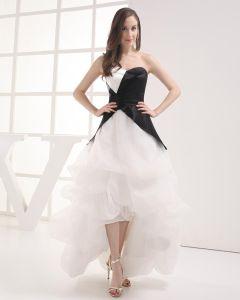 Imitation Soie Organza Cherie Ruffle Robe De Bal Celebrite Asymetrique De La Mode