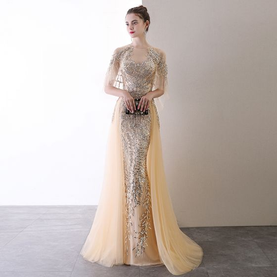 High-end Champagne Evening Dresses  2020 Trumpet / Mermaid Scoop Neck Beading Sequins Short Sleeve Sweep Train Formal Dresses