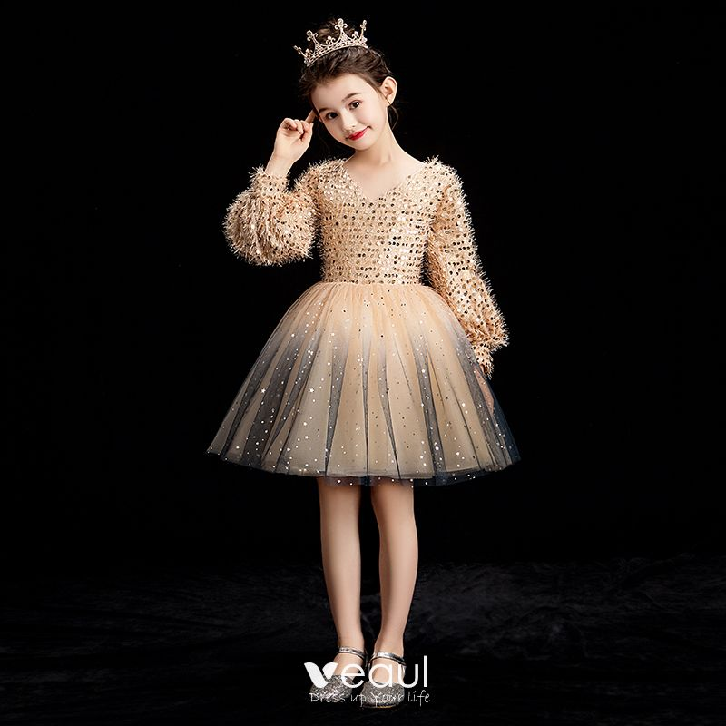 Long-Sleeve Short White Sequin Holiday Party Dress   Short