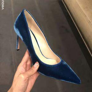 Modest / Simple Ink Blue Office OL Pumps 2020 Suede 6 cm Stiletto Heels Pointed Toe Pumps